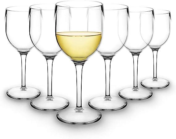 RB Verres à Vin Blanc Plastique Supérieure Incassables Réutilisables 20cl, Lot de 6