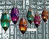 Authentic Moroccan Tonal Glass Hanging Lantern Tealight Holder