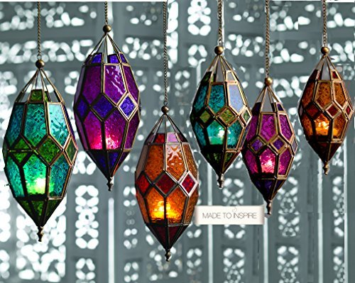 Moroccan Star - Authentic Moroccan Tonal Glass Hanging Lantern Tealight Holder (Small Purple) by SupremeBuy