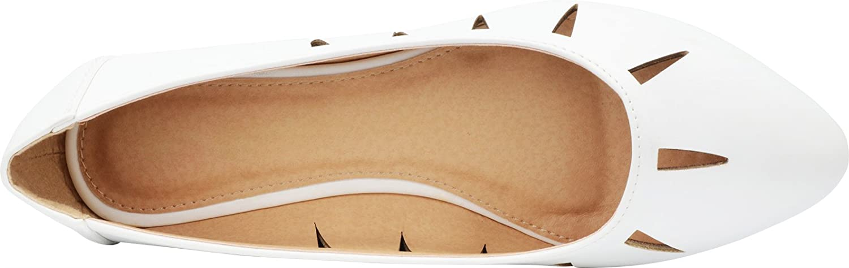 Cambridge Select Women's Closed Pointed Toe Slip-On Geometric Cutout Ballet Flat B07D9SMSCT 10 B(M) US|White Pu