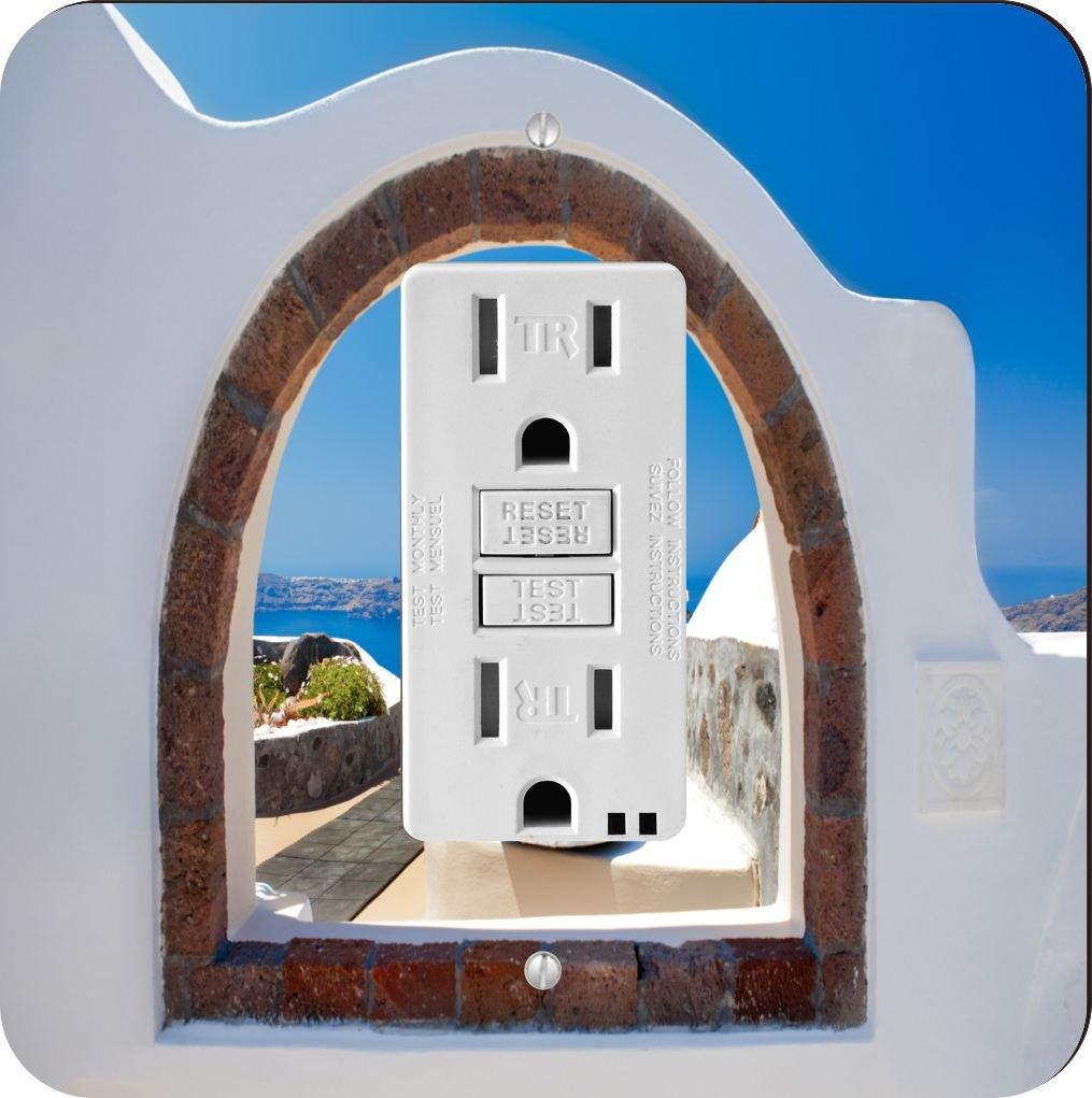 Rikki Knight 8976 Greek White Washed Window To Paradise Design Light Switch Plate