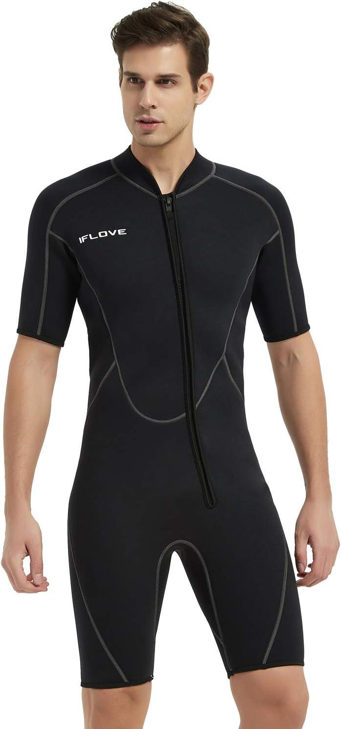 IFLOVE 3mm Shorty Wetsuit for Men Neoprene Diving Suit Front Zip Wetsuit for Diving Snorkeling Surfing: Sports & Outdoors