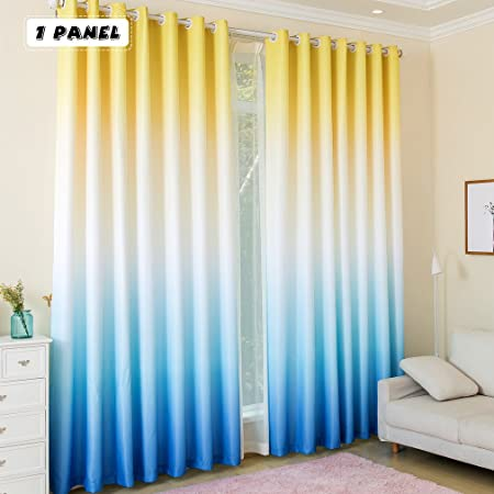 Awesome KINLO 1 Panel Eyelet Blackout Curtains 145 X 245 Cm Gradient Color   Yellow  / White