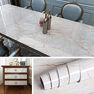 Livelynine Removable Wallpaper Kitchen Countertop Covers Peel and Stick Marble Wall Paper Kitchen Wall Covering Instant Granite Counter Sticker Adhesive Shelf Liner 15.8x78.8 Inches