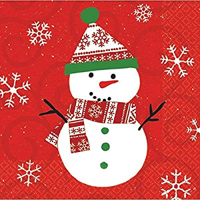 "Christmas Snowman Luncheon Napkins, 6.5"" x 6.5"": Toys & Games"