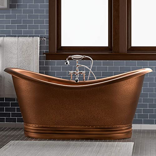 Magnus Home Products 66″ Vista Copper Double-Slipper Roll-Top Bathtub w/Pedestal