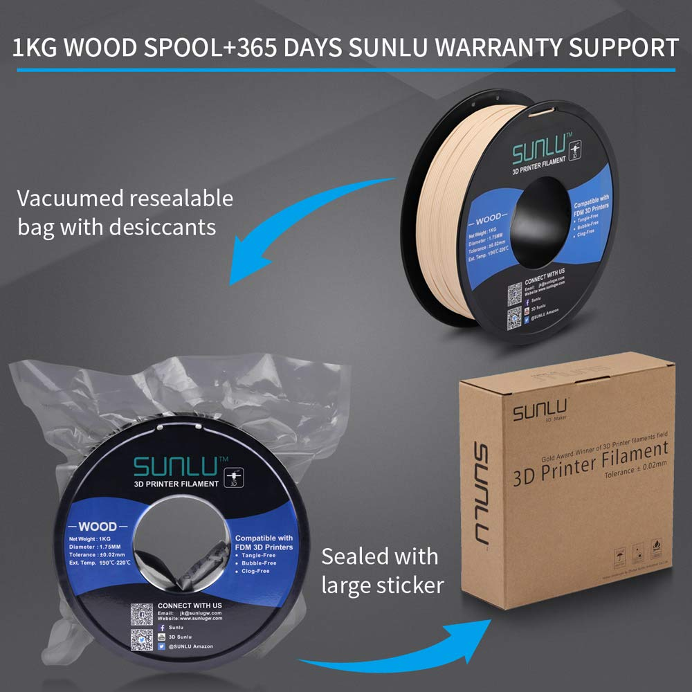 SUNLU WOOD 3D Printer Filament 1.75mm PLA Filament 1kg/Spool for ...