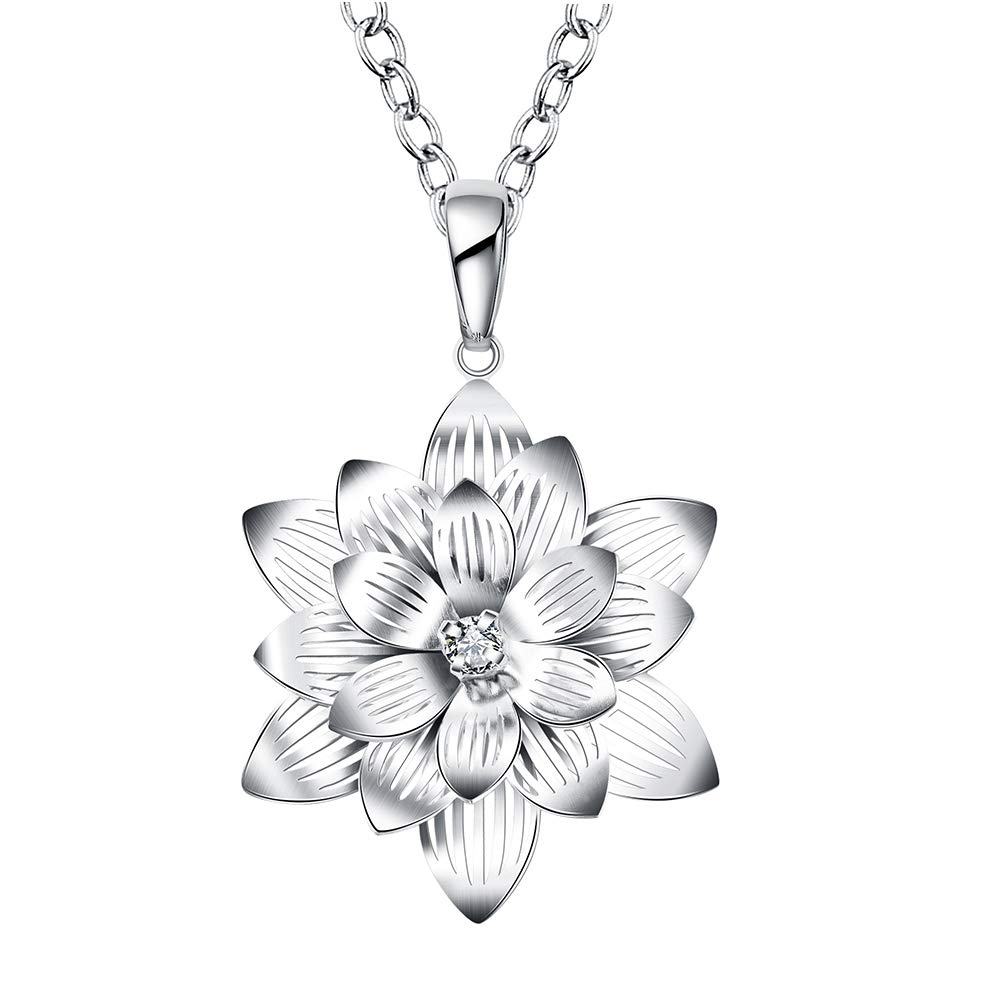 Greendou Fashion Jewelry 925 Sterling Silver Plated CZ Crystal Lotus Flower Pendant Necklace by Greendou