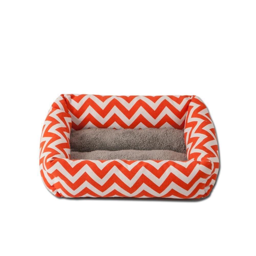B 454012cm B 454012cm YunYilian Pet Bolster Dog Bed Comfort Pet mat Wavy Square Dog House cat nest (color   B, Size   45  40  12cm)