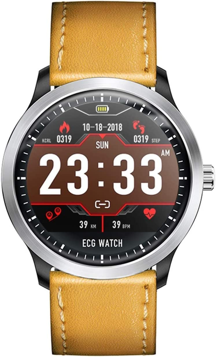 TOPE Reloj Inteligente ECG PPG Reloj Inteligente Amarillo con electrocardiógrafo ECG Pantalla Holter ECG Monitor de Ritmo cardíaco Presión Arterial Pulsera Inteligente para Mujeres