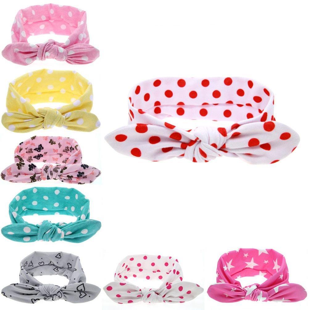 Baby Girls Headband Bunny Ears Dot Girls'Head Wrap Turban Newborn Headband 6 Pcs Yzjcafriz
