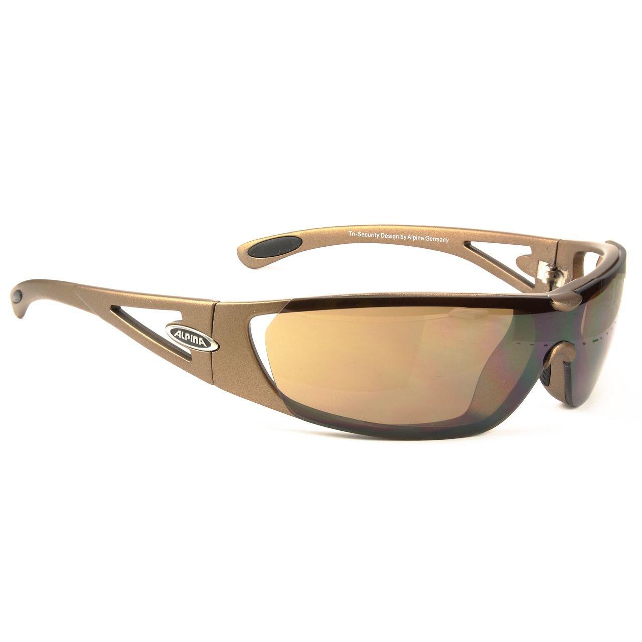 ALPINA Fahrradbrille Sportbrille Sonnenbrille Brille TRI-Security braun
