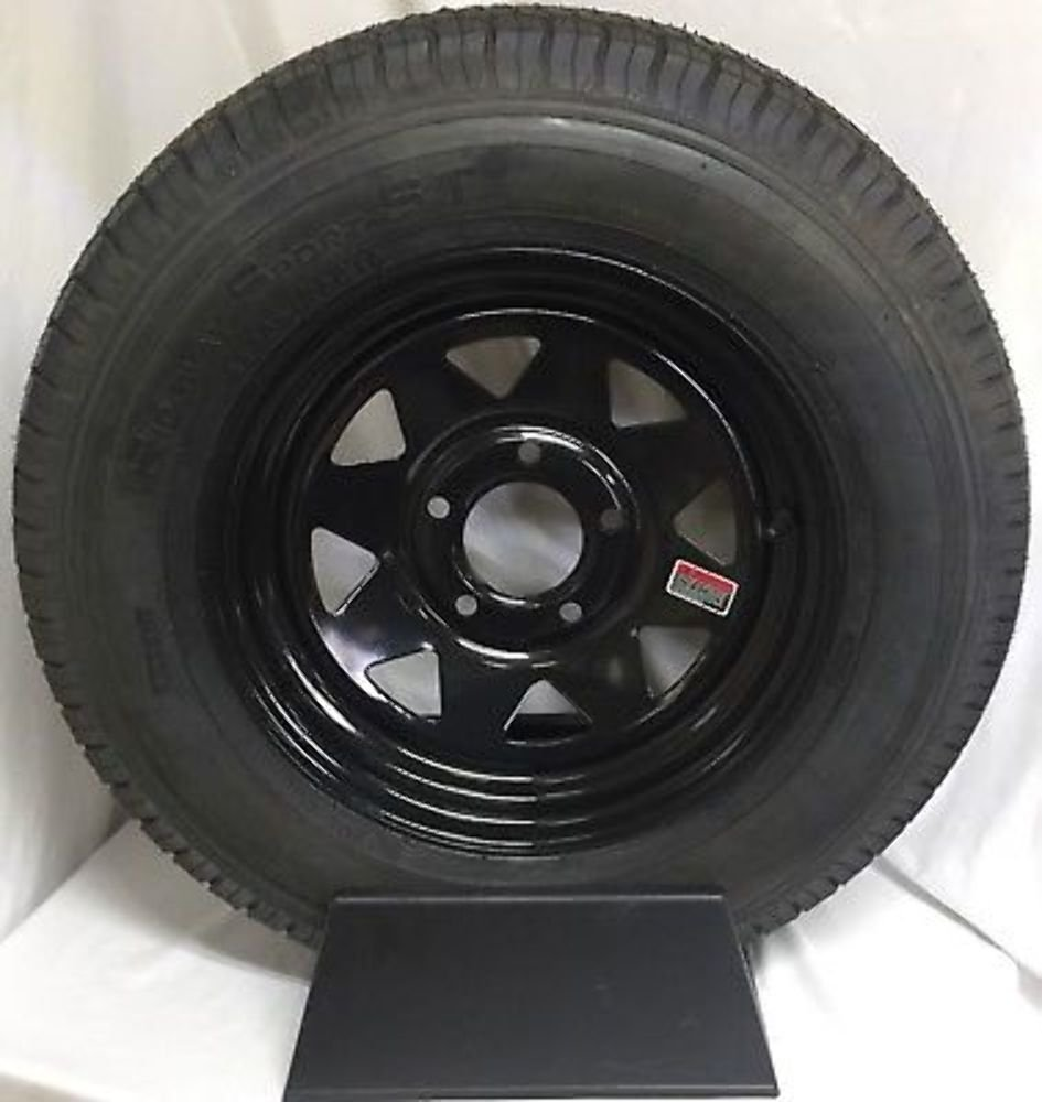 15'' NEW TRAILER WHEEL RIM 5X5 BLACK SPOKE 205/75D15 Tire Bias