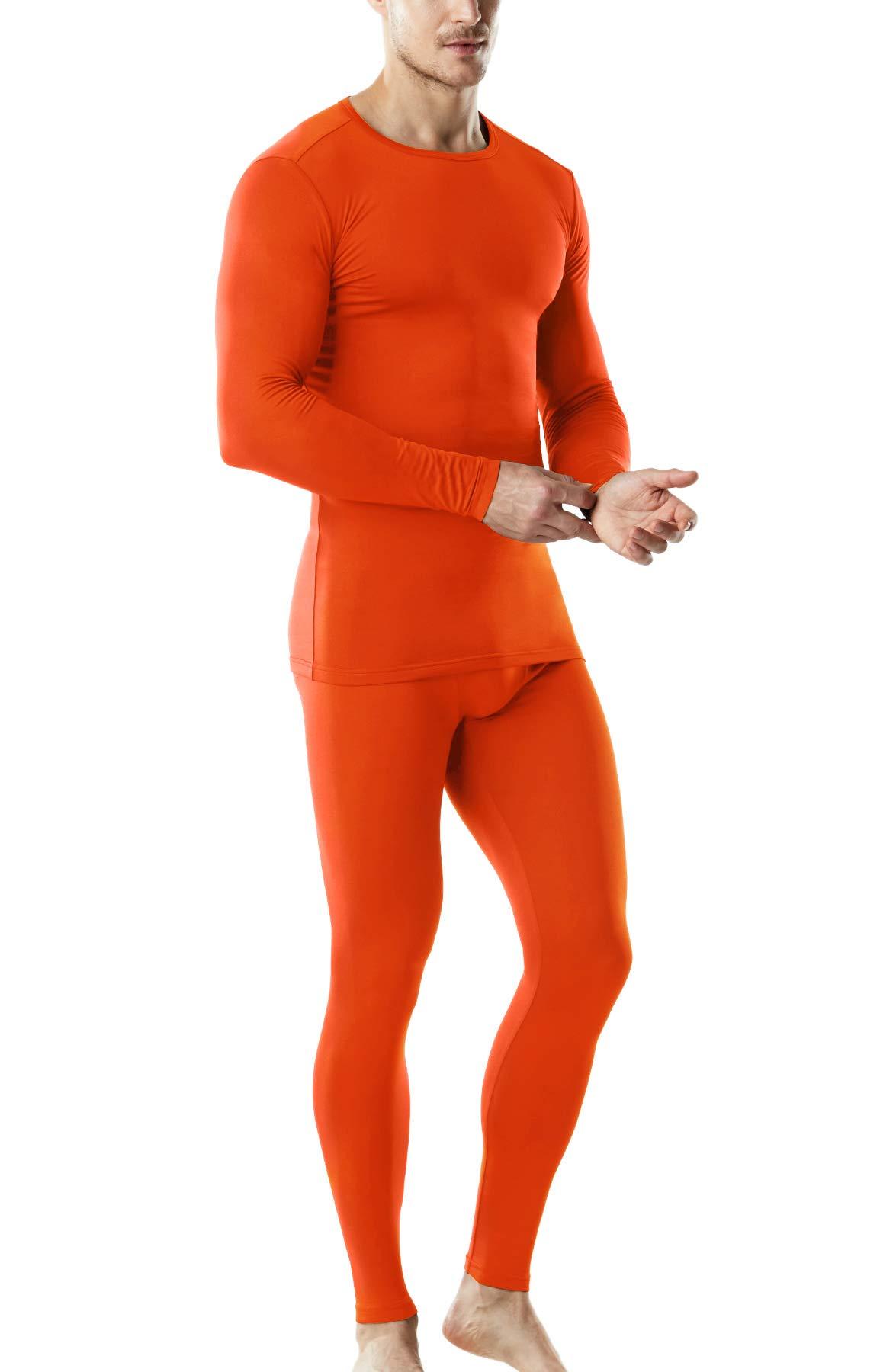 TSLA Blank Men's Microfiber Fleece Lined Top & Bottom Set, Thermal Fleece(mhs100) - Orange, Medium by TSLA