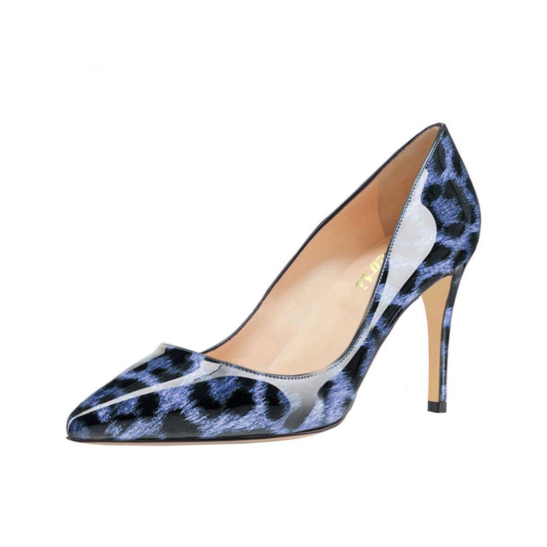 VOCOSI Women's Basic Simple High Heels Slip On Closed Pointed Toe Ladies Dress Pumps B073JFSFNS 7.5 B(M) US|Blue Leopard-patent
