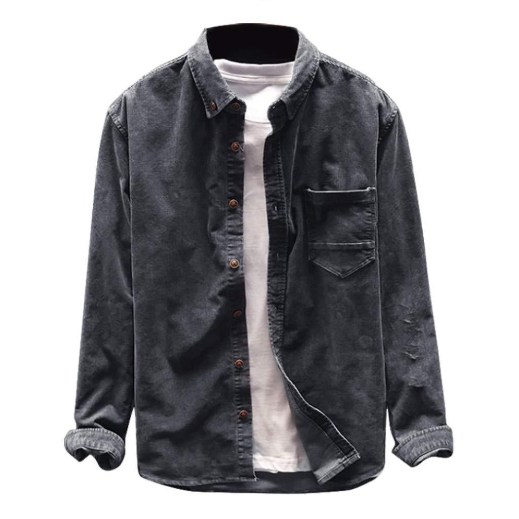 VZEXA Mens Tops Autumn Winter Corduroy Shirts Long Sleeve Pocket Casual Jackets by VZEXA