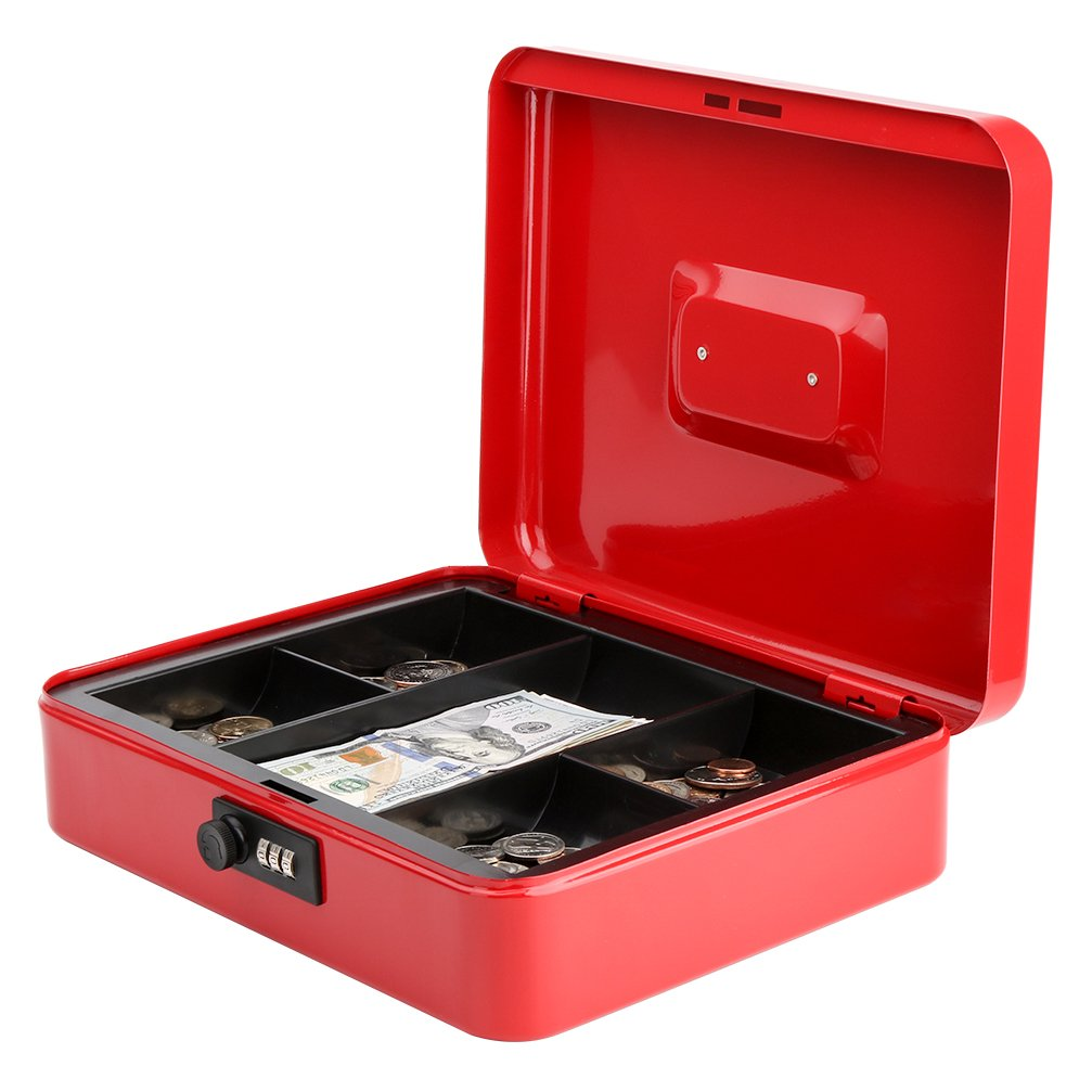 Safe Metal Cash Box with Money Tray & Combination Lock, Decaller Large Lock Storage Money Box with 5 Compartments Cash Tray, Red, 11 4/5'' x 9 2/5'' x 3 1/2'', QH3003L by Decaller (Image #3)