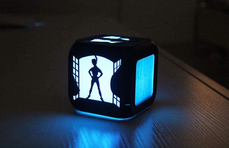 USB Charging XY-M 3D Alarm Clock st/ér/éo Peter Pan lumi/ère LED Mute Nuit Alarme Creative Horloge /électronique Sept Couleurs de la Mode