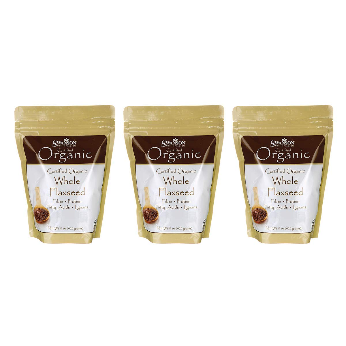 Swanson Certified Organic Whole Flaxseed 15 Ounce (425 g) Seeds (3 Pack)