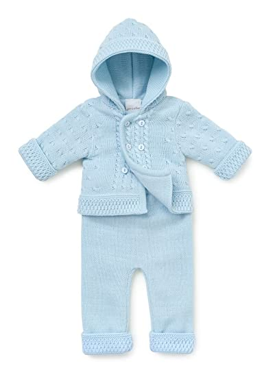 89f891111b35 Baby Boys Double Knitted 2 Piece Trouser   Hooded Jacket Set Pram ...