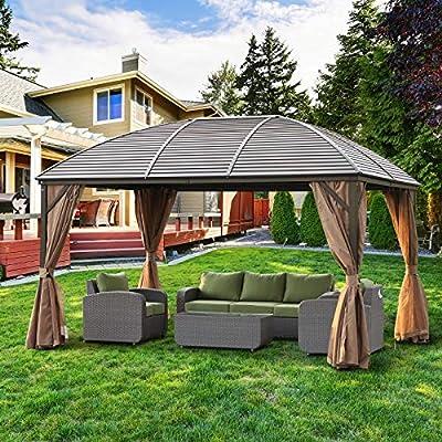 Festnight Outdoor Patio Aluminum Metal Backyard Hardtop Garden Gazebo with Screened Curtains, 13' x 10' : Garden & Outdoor