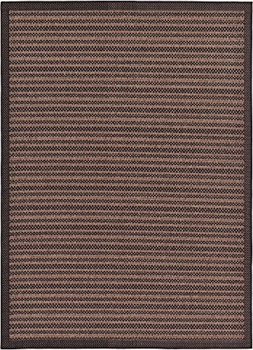 Unique Loom Outdoor Border Collection Striped Casual Transitional Indoor and Outdoor Flatweave Brown  Area Rug (7' 0 x 10' 0)