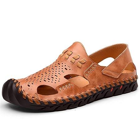 e2ab01cfaf2 Qingqing Men s Fisherman Sandals Leather Breathable Sandal Non-Slip  Adjustable Summer Beach Sandals Mens Leather
