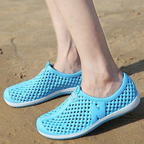 Xing Lin Flip Flop De La Playa Agujero Verano Media Masculina Zapatos Zapatillas Casual Hueca Transpirable Calzado De Playa Marea Zapatillas Sandalias Parejas Hombres PK222 - moonlight