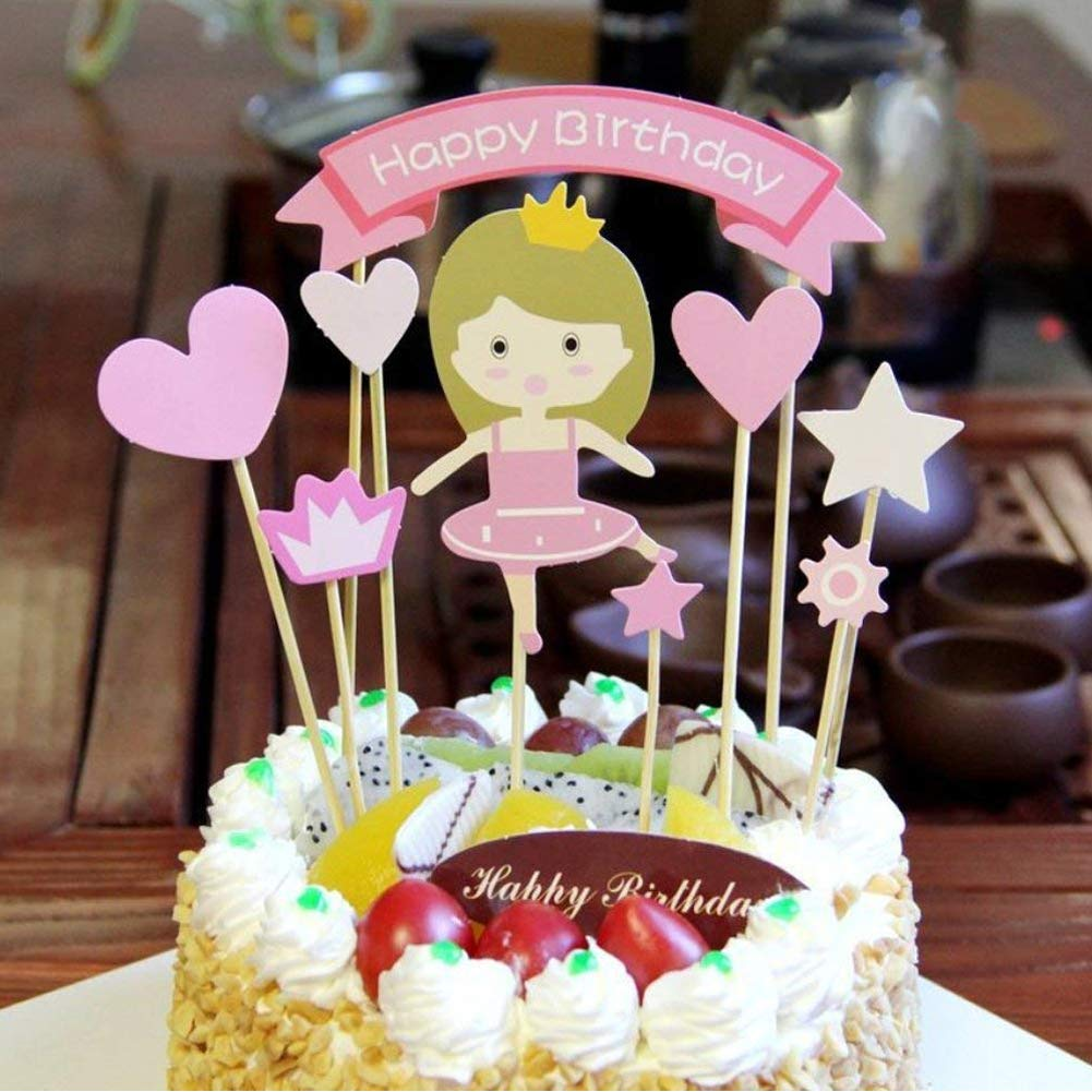 Amazon Princess Baby Girl DIY Happy Birthday Cake Topper Kids Party Decorations Toppers Picks Flags Set Toys Games