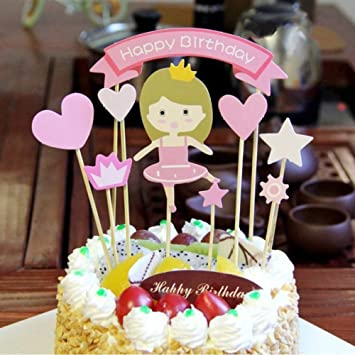 Amazon com: Princess Baby Girl DIY Happy Birthday Cake Topper, Baby
