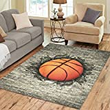 Cheap InterestPrint Home Decoration Basketball Embedded in A Brick Wall Art Area Rug Cover 7′ x 5′, Vintage Carpet Rugs Cover for Home Living Dining Room