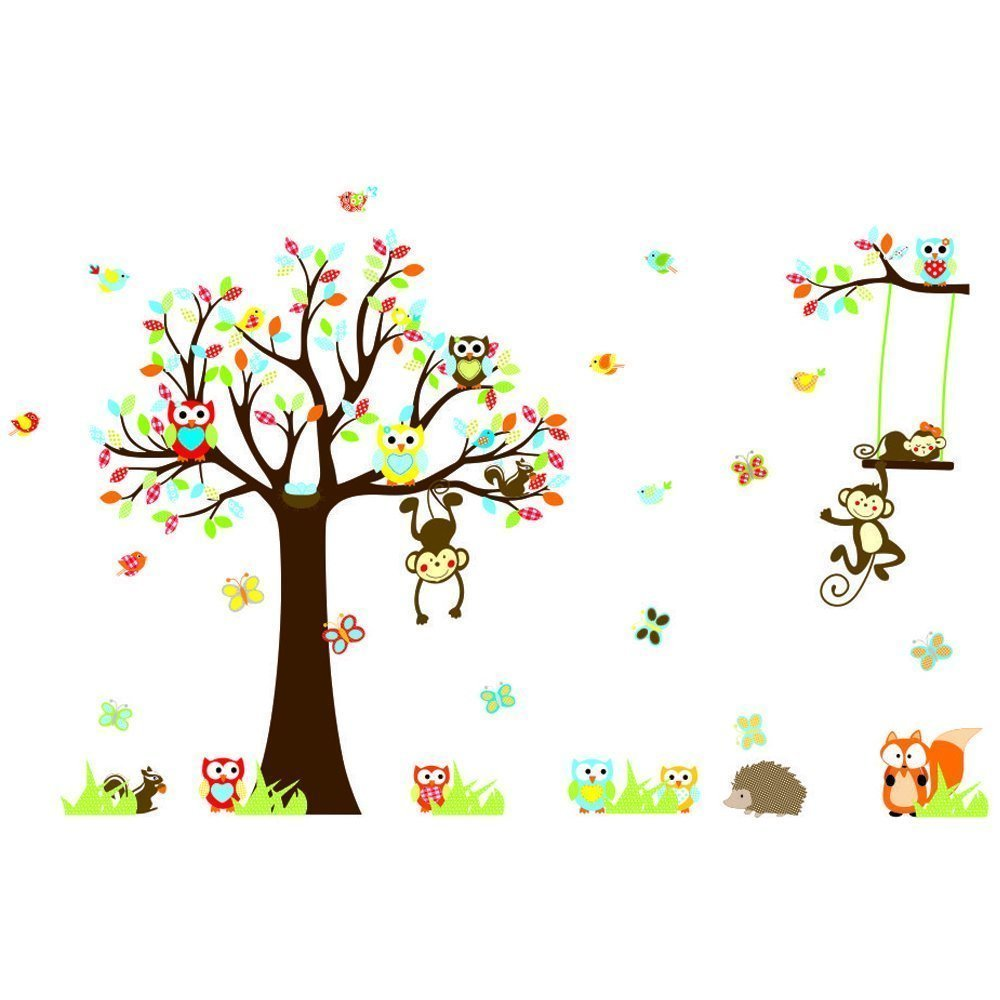 Large Jungle Animals Owls Tree Removable Wall Stickers Wall Decor Home Decor Wall Art Kids Room Bedroom Decor Living Room Decor Sofa TV Background DIY Art Decals