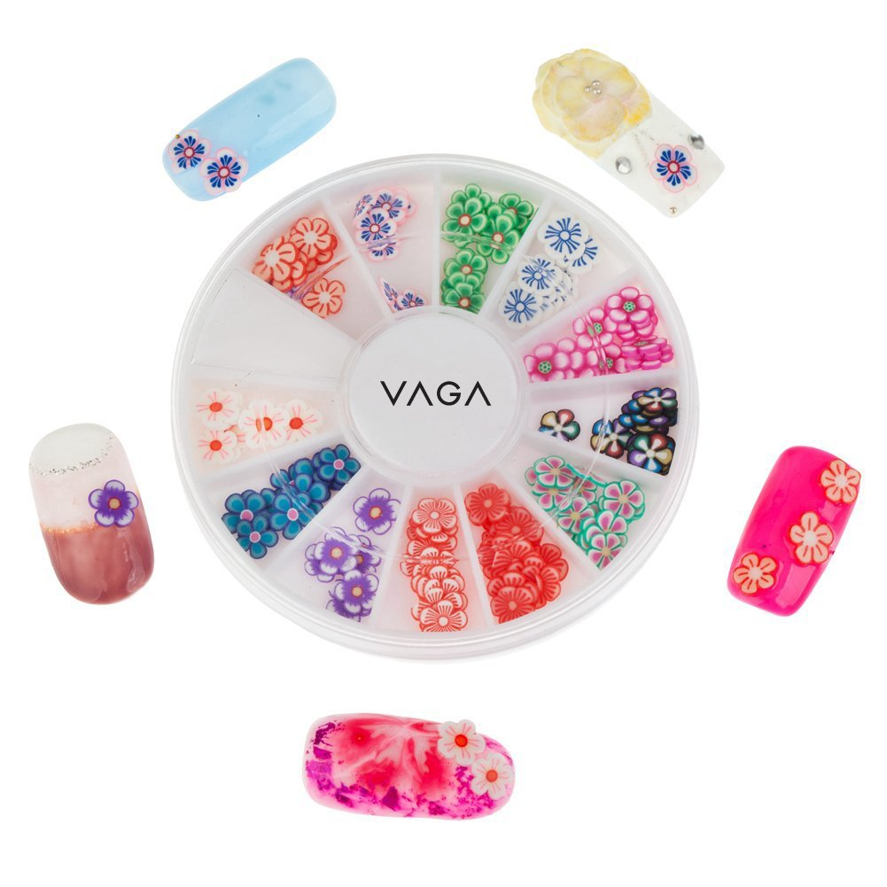 High Qualiy Professional Manicure 3D Nail Art Decorations Wheel With Flowers Fimo Slices / Decal Pieces In 12 Different Shapes And Many Colours By VAGA®