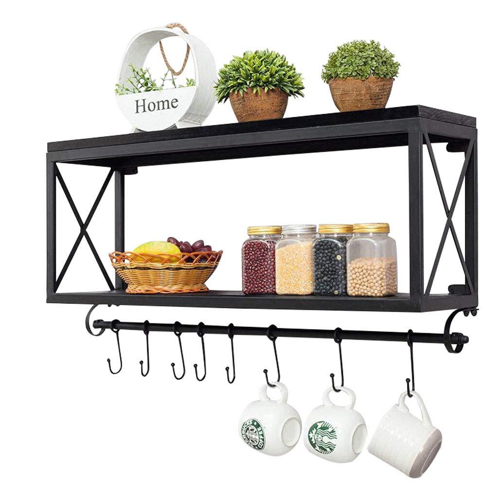 Amerikanischen Retro Schmiedeeisen Holz Küchenregale Wand Badezimmer Lagerregal Wohnzimmer Kaffeetasse Regal (schwarz) (Größe : 40 * 45cm)
