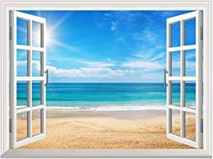 "Wall26 Removable Wall Sticker/Wall Mural - Beautiful Summer Seascape and The Beach | Creative Window View Home Decor/Wall Decor - 36""x48"""