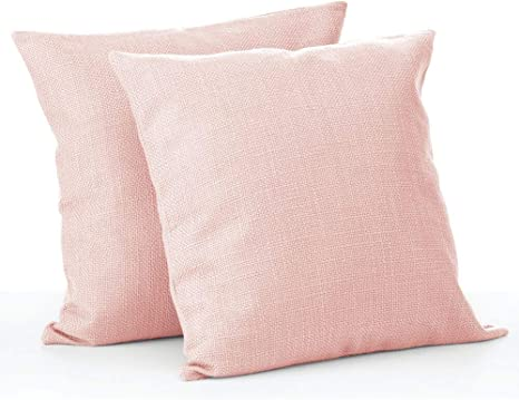 Amazon Com Mdesign Solid Color Decorative Faux Linen Throw Pillow Cover Cushion Cover Pillowcase For Couch Sofa Bed 18 X 18 Inches No Pillow Insert 2 Pack Blush Pink Home Kitchen