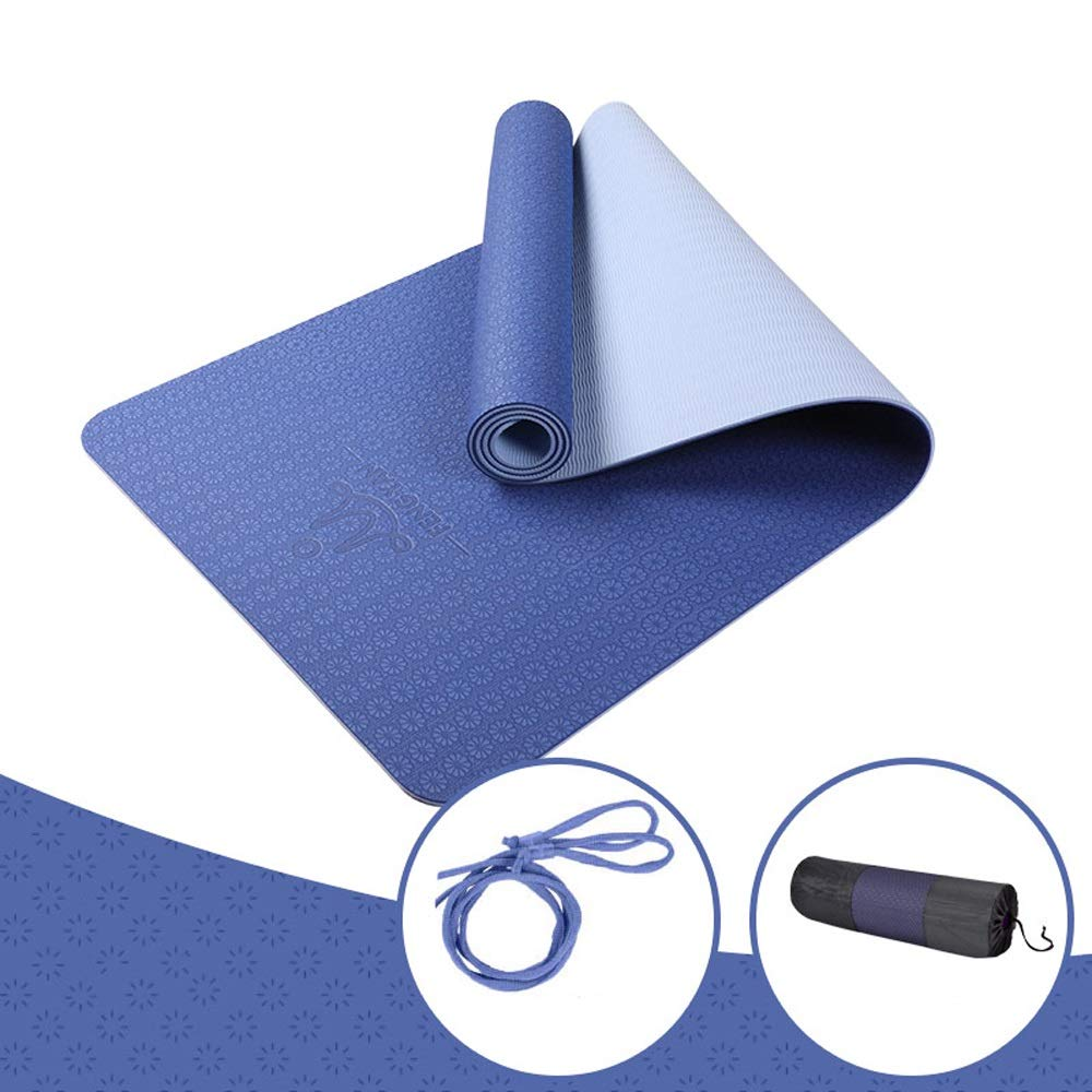 LS-Exercise Fitness Yoga Mat - Male and Female Beginners Fitness Yoga Multi-Function Three-Piece Set of Tasteless Non-Slip Yoga Mat [8 Color Optional]& (Color : Deep Sea Blue, Size : 6mm)