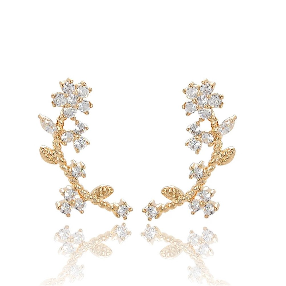 Leaf Vine Crystal Statement Earrings Valentines Birthday Gift For Women Mother