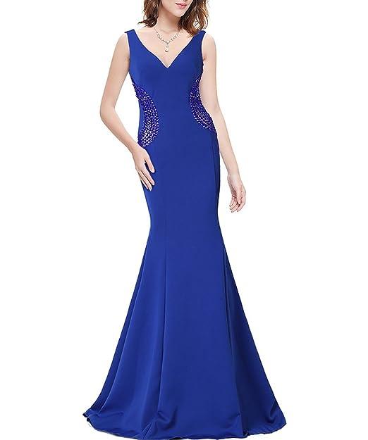 KAXIDY Mujer Elegantes Vestido Largo de Noche Cuello V Vestido de Bola Vestidos Largos Fiesta (