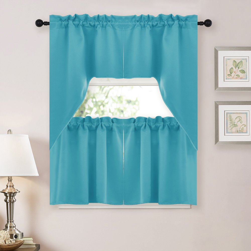 NICETOWN Half Window Light Reducing Rod Pocket Kitchen Tier Curtains- Tailored Scalloped Valance /Swags