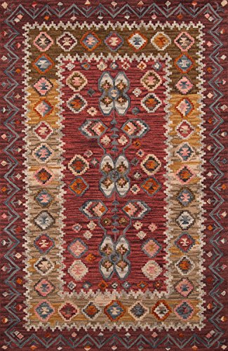 Momeni Rugs TANGITAN-1RED80B0 Tangier Collection, 100% Wool Hand Tufted Tip Sheared Transitional Area Rug, 8' x 11', Red (Rug Burnt Sienna Wool)