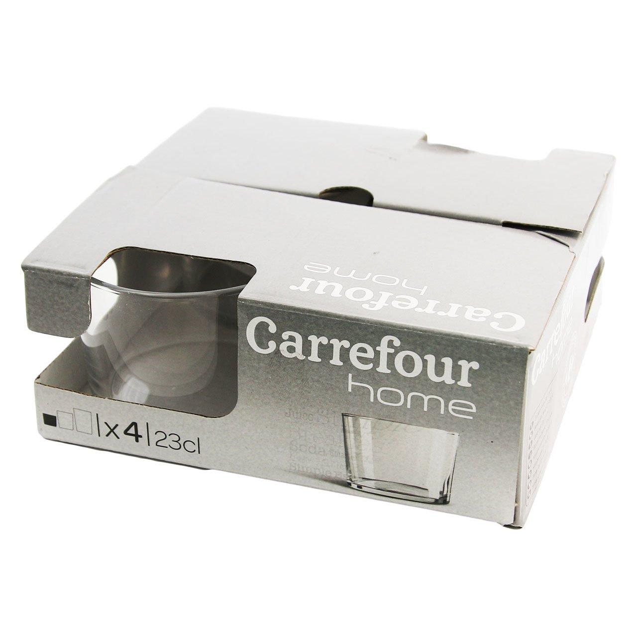 Carrefour Home 105583524 Transparente 4pieza(s) taza y tazón - Taza/vaso (Establecer, 0,23 L, Transparente, Vidrio, 4 pieza(s), 170 mm): Amazon.es: Hogar