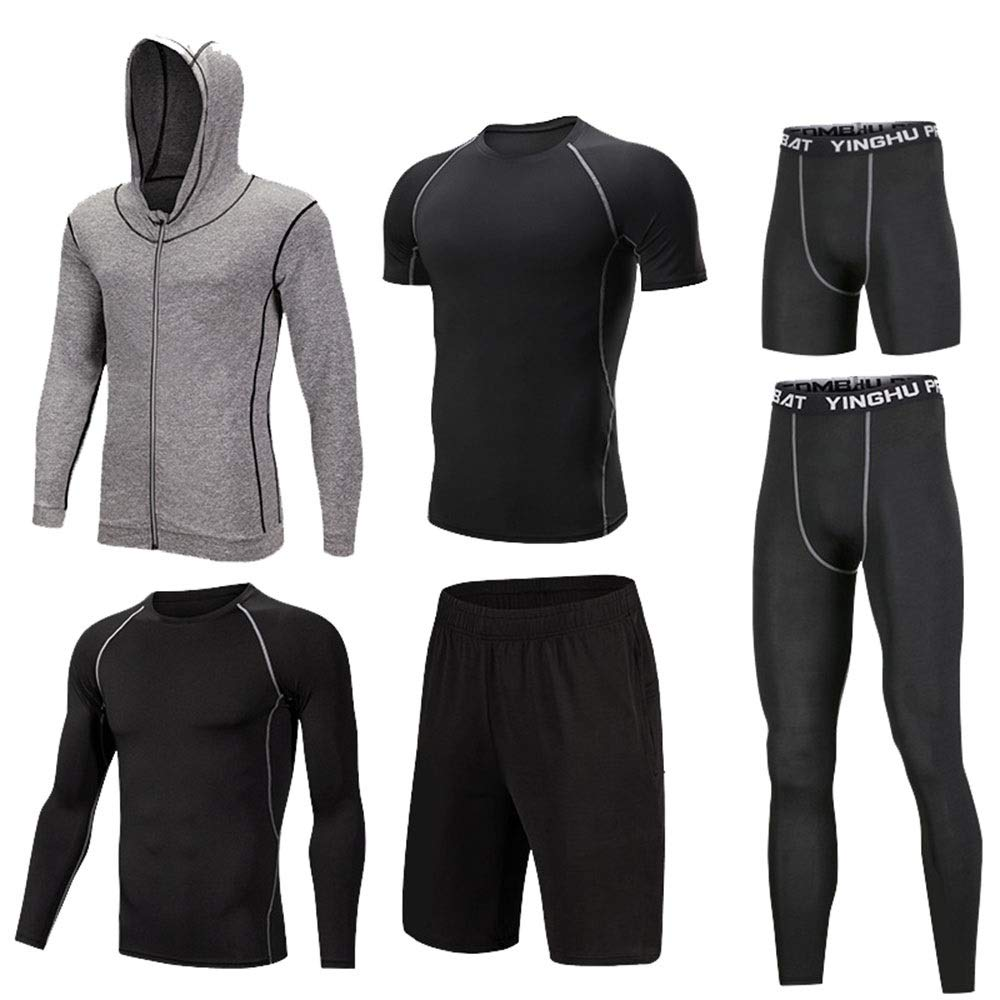 Gym Wear Fitness Bekleidung Set 6 Stück Herren Workout Laufen Athletic Kleidung Sets mit Outwear, Compression Long Sleeve Shirt, Compression Enge Hose, Compression Kurzarm T-Shirt, Lose Shorts, Compre