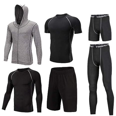 Men/'s Compression Shirt Legging Set Quick-dry Athletic Workout Gym Basketball
