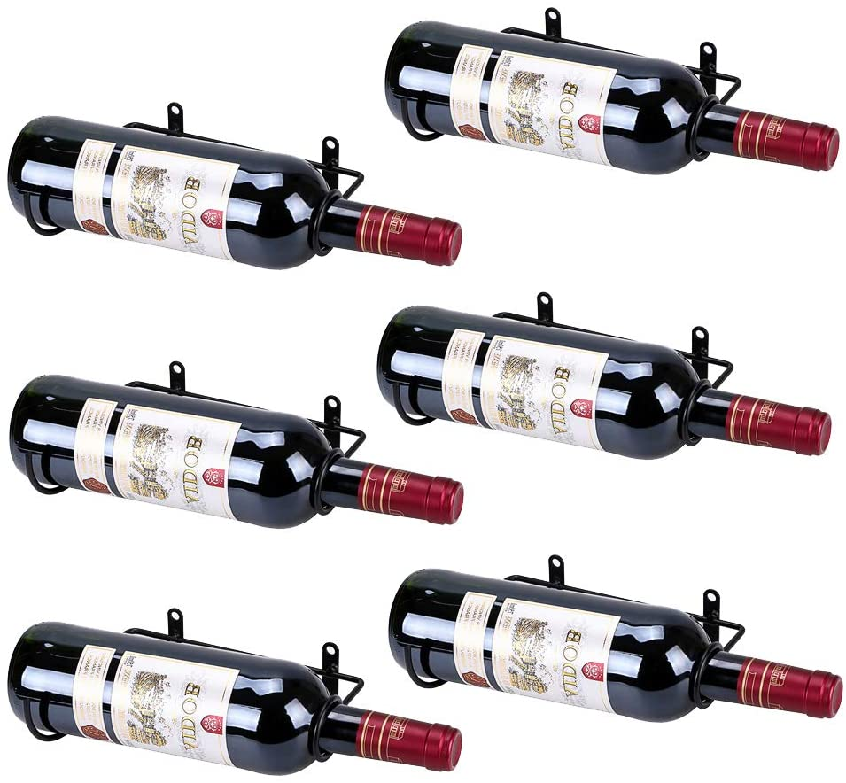 Bottle Mouth to The Right Metal Hanging Wine Rack Organizer BSTKEY 6 Pack Wall Mounted Iron Wine Bottle Holder Racks Bottle Storage Holder Red Wine Adult Beverages Liquor Bottle Display Holder