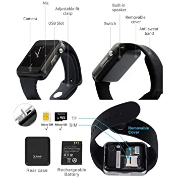 Reloj Inteligente, Smartwatch con Cámara TF/Ranura de Tarjeta SIM ...