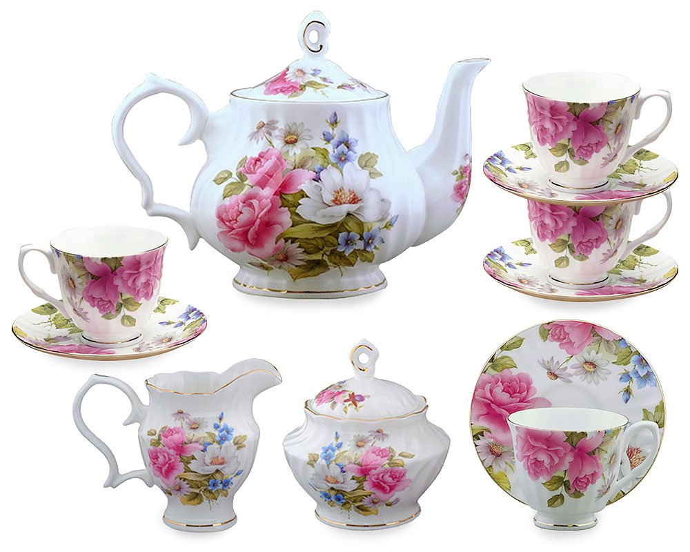 Gracie Bone China 11-Piece Tea Set, Pink Grace's Rose