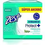 Zest Jabón de Tocador, Antibacterial Frescura, 100 gr, Paquete de 5 Piezas