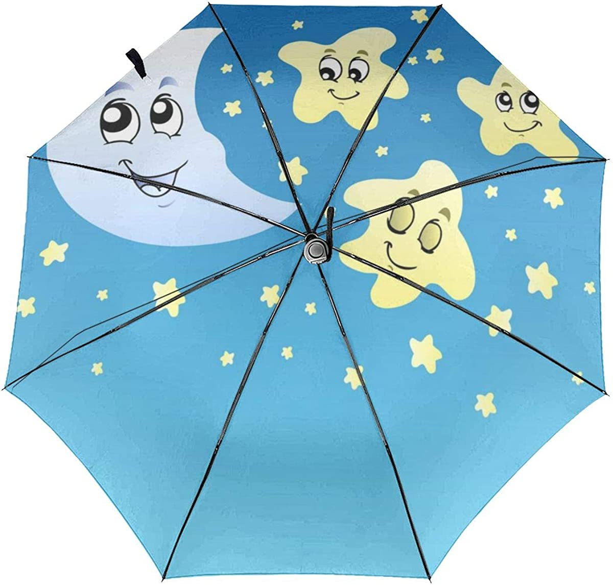 Night Sky With Cute Stars And Moon Compact Travel Umbrella Windproof Reinforced Canopy 8 Ribs Umbrella Auto Open And Close Button Customized