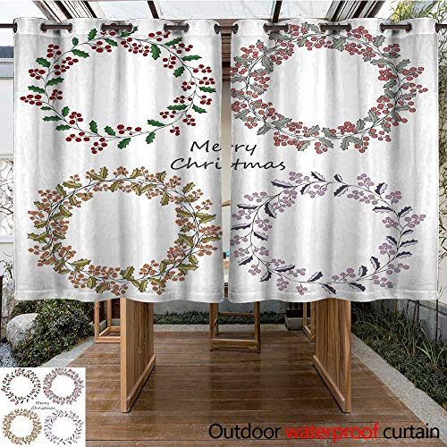 RenteriaDecor Outdoor Ultraviolet Protective Curtains Four Wreath of Holly Christmas Greeting Greeting Card W55 x L72
